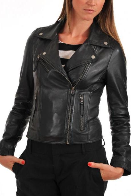 Women's Leather Jacket Handmade Motorcycle Solid Lambskin Leather Coat -34