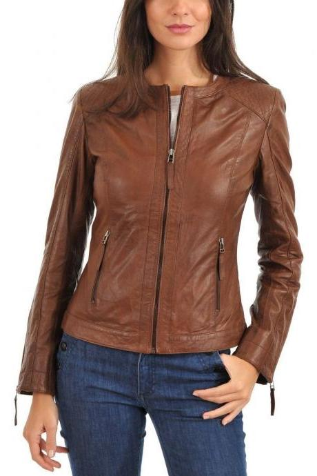 Women's Leather Jacket Handmade Motorcycle Solid Lambskin Leather Coat -35
