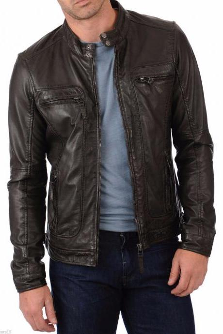 Men Leather Jacket Handmade Black Motorcycle Solid Lambskin Leather -50