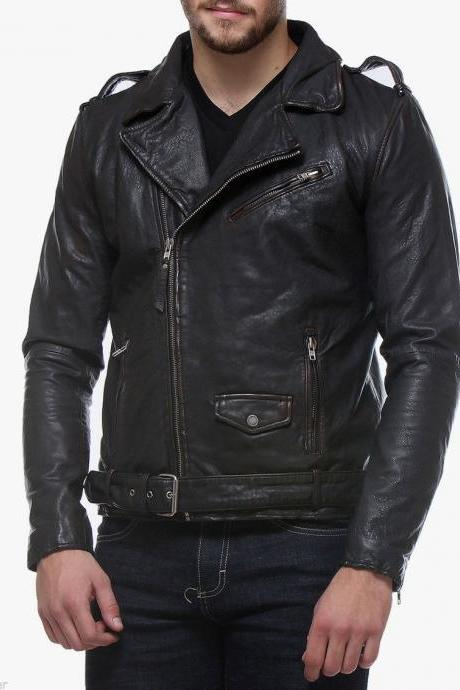 Men Leather Jacket Handmade Black Motorcycle Solid Lambskin Leather -52