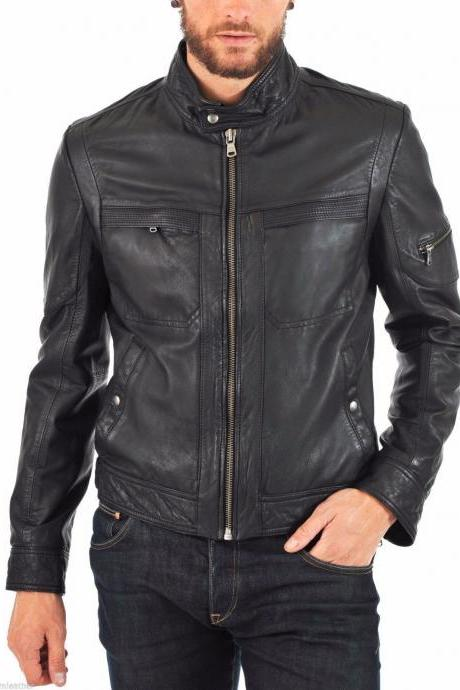 Men Leather Jacket Handmade Black Motorcycle Solid Lambskin Leather -53