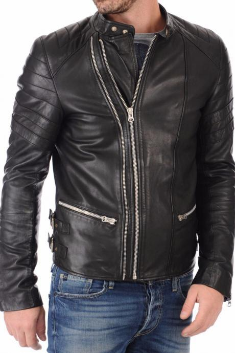 Men Leather Jacket Handmade Black Motorcycle Solid Lambskin Leather -64
