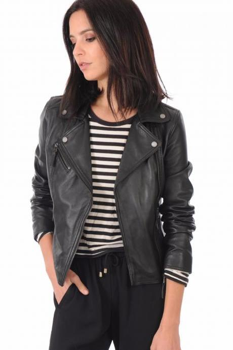 Women's Leather Jacket Handmade Motorcycle Solid Lambskin Leather Coat -18