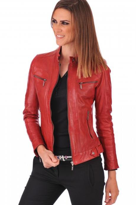 Women's Leather Jacket Handmade Motorcycle Solid Lambskin Leather Coat -20