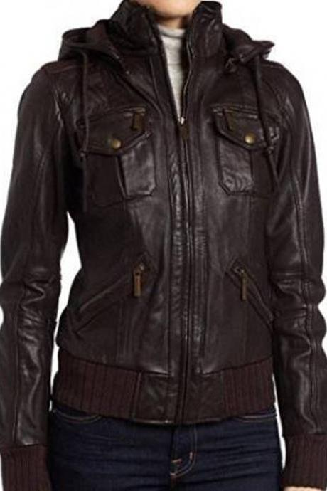 Women's Leather Jacket Handmade Motorcycle Solid Lambskin Leather Coat -23